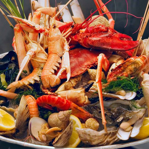 A seafood platter with an array of shellfish