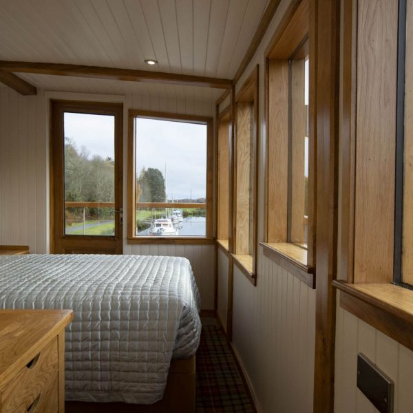 The Sunart cabin on the Highland Lassie with views over the Caledonian Canal