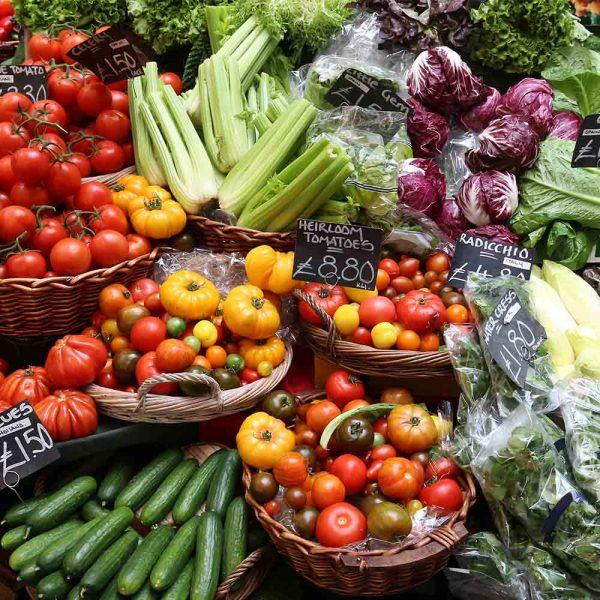 a fruit and veg market stall
