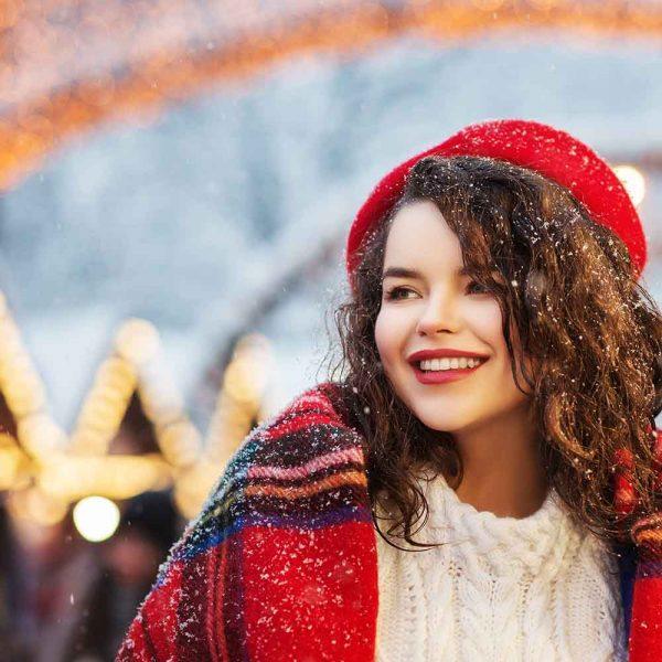 a woman with a tartan shawl